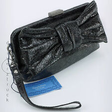 SIMPLY VERA WANG Sparkle Fabric BLACK CLUTCH with BOW Front FRAME WRISTLET Purse