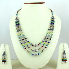 Necklace Earrings Natural Crystal Gemstone Beaded Fashion Handmade Jewelry