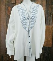 New Bob Mackie White Blouse Womens 3X Embroidered Long Sleeve Button Down QVC
