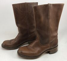 "vintage Men's LEATHER BOOTS w/ HEEL size 10 Cowboy Engineer 13"" MADE IN USA"