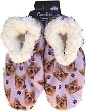Comfies Womens Yorkie Dog Slippers - Sherpa Lined Animal Print Booties