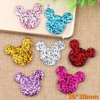 20 Flatback Resin Crystal Glitter Mouse Face Cabachons 30X35mm Color for Choice
