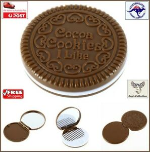 1 Pc Mini Cookie Style Chocolate Mirror Comb Compact Makeup Portable [A6D2~B59]