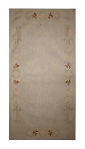 French Carpet Aubusson Rug Tapestry, Handwoven Wool Cream Rug 69x140cm