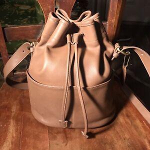 Vintage Coach Bucket Purse Saddle Bag Tan Leather United States Crossbody