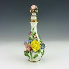 Meissen Porzellan Antik Krug Kanne Flasche Duftflasche mit Blumen 1.Wahl