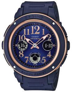 Casio Baby-G Navy+Brown Analogue/Digital Female Watch BGA150PG-2B2 BGA-150PG-2B2
