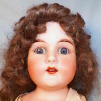 Heinrich Handwerck Bisque Head Doll #139 Kid Body 22in Nice Wig Antique As Is