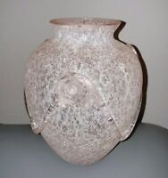 Antique Vintage baby pink satin frit Glass Vase with clear Applied Glass