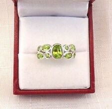 2.16 ct Natural Peridot Sterling Silver Bezel Set Sterling Silver Cluster Ring