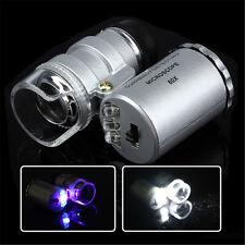 60x Lupe Mini Mikroskop Juwelierlupe Uhrmacherlupe mit LED UV Licht Leder Etui