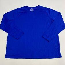 Athletic Works T Shirt Mens 2XL XXL Long Sleeve Blue Performance Blend Crew Neck