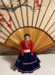 EUC Signed Alice Mokie Native Doll Handmade with Stand, Embroidery, Beadwork!