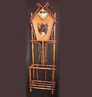 19th C. Art Nouveau Bamboo Hall Tree Shield Mirror Mudroom entryway coat rack