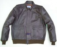 Men Type A2 Repro Military Flight Jacket Real Goatskin thick leather Seal Brown