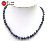 "7-8MM Black Natural Rice Freshwater 17"" Chokers Pearl Necklace for Women-5591"
