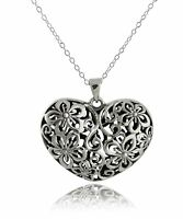 3D Flower Heart Necklace - 925 Sterling Silver - Love Valentine's Gift Pendant