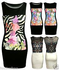 Ladies Womens Zebra Mesh Floral Bodycon Stretch Pencil Midi Party Shift Dress