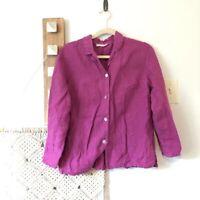 Bryn Walker Top Medium Purple Lagenlook 100% Linen Blouse Boxy Oversize
