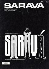 "Mitch Leigh ""SARAVA"" N. Richard Nash / Tovah Feldshuh 1978 Broadway Sheet Music"