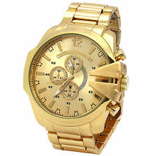 Mens Gold metal Band Gold Face Bridge Bezel Water proof Quartz Wrist Watches
