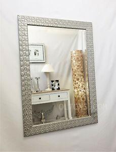 John Lewis Antique White Silver Mosaic Wall Mirror Solid Wood Frame 117x92cm