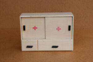 Old Vintage Wooden Medicine Medical Cupboard Chest Cabinet First Aid Box 1960's