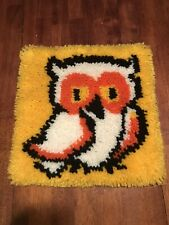 Vintage Retro Owl Latch Hook Wall Hanging Completed Rug  70s