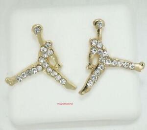Michael Jordan Jumpman Logo Gold CZ Stud Earrings In Gift Box