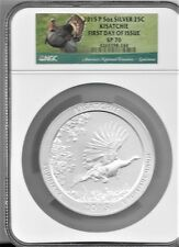 2015 P 5 oz. Silver 25c KISATCHIE  SP 70 NGC First Day of Issue