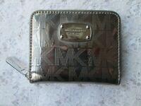 MICHAEL KORS WALLET, Pewter Metallic, Jet Set Leather Zip Around, NEW, NWOT