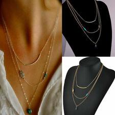 HOT Gypsy Hamsa Hand Fatima Evil Eye Bead Turquoise Pendant Charm Chain Necklace