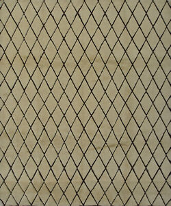 Moroccan Design Rug Hi-Lo Pile, 8'x10', Ivory/Brown, Hand-Knotted Wool Pile