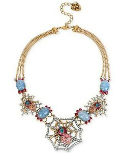NWT Betsey Johnson Fabulous Two-Tone Pavé Spider Web Statement Necklace