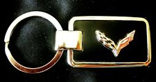 Corvette C7 Black Onyx w/ Silver Trim Key Chain-Free Engraving on back