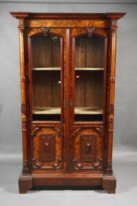 Rare Bookcase Gründerzeit Era Walnut Root Veneer Um 1880
