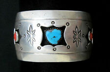 Navajo Old Pawn Silver and Turquoise Bracelet/Cuff Castle Dome Signed *TB151