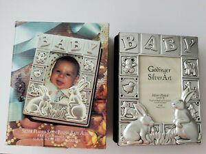 "Silver Plated Satin Finish Baby Photo Album By Godinger Silver Art Rabbits 4""x6"""