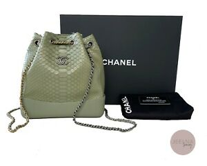 CHANEL 2018 Python Green Gabrielle Small Backpack Bag NEW