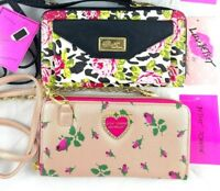 Luv Betsey Johnson Convertible Wallet Crossbody Clutch Floral Animal Print
