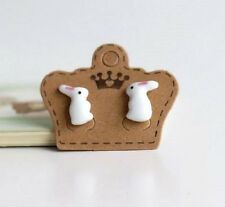 CERAMIC RABBIT BUNNY ANIMAL STUD EARRINGS