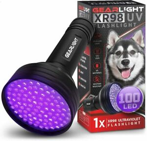 GearLight UV Black Light Flashlight XR98 - Powerful 100 LED