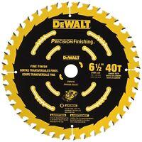 """DEWALT 6.5""""d 40 Tooth Precision Cutting Finishing Carbide Saw Blade"""