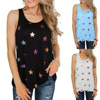 Women's Casual Sleeveless Star Printed Tank Tops Vest Summer Loose O-Neck Blouse