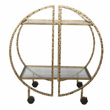 Contemporary Geometric Gold Metal Bar Cart Half Moon Round Rolling Wheel Shelves