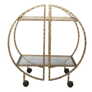 Contemporary Geometric Gold Metal Bar Cart Half Moon Round Rolling Wheel Shelves
