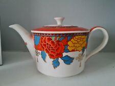 Vintage Grace Chinese orange yellow teal flowers design 1.5 pint Tea Pot vgc