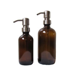 Amber Glass Soap Dispenser Set 16oz and 8oz with Stainless Steel Soap Pumps