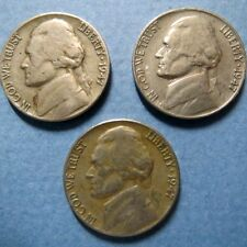 *Vintage Lot of (3) 1947  JEFFERSON  NICKELS, PDS MINTS, Circulated Coin Set #3