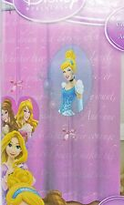 Disney Princess Fabric Shower Curtain 72x72 Pink Purple Cinderella Belle Aurora